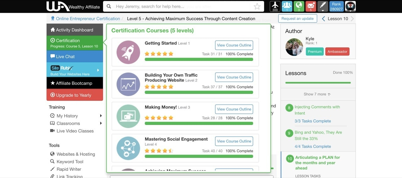picture inside wealth affiliate certification screen