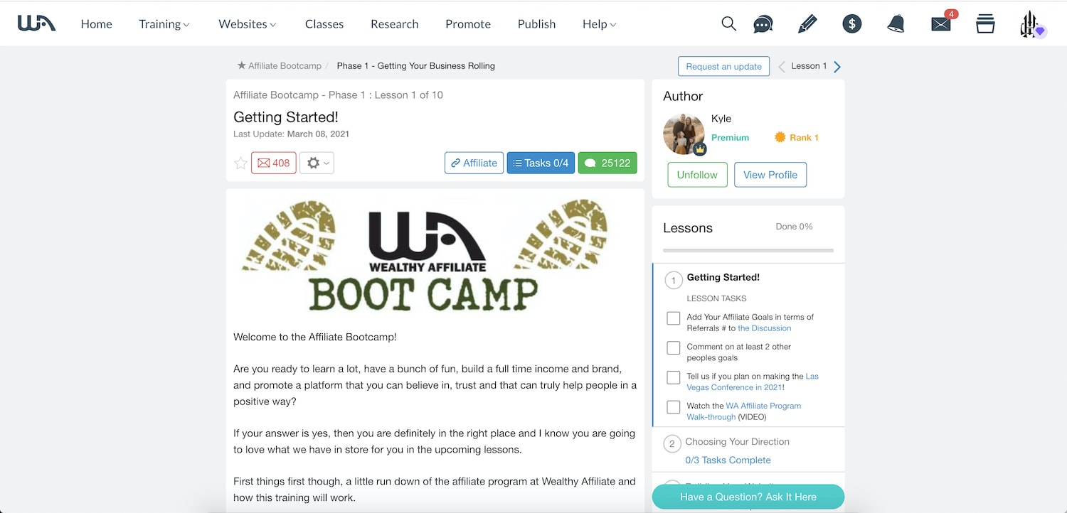 look into wealthy affiliate bootcamp