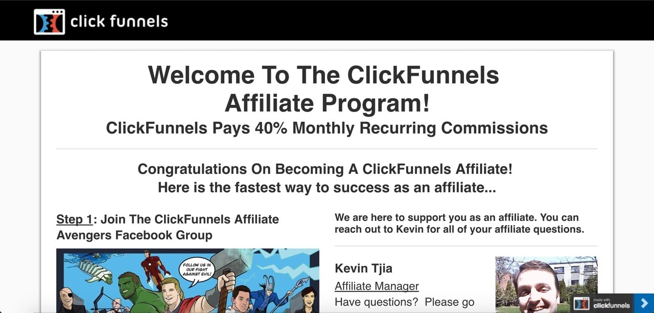 a look at the affiliate section