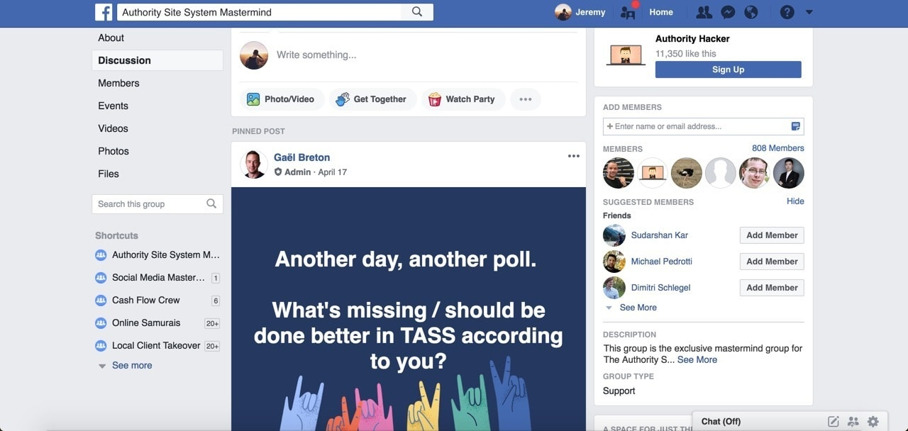 facebook group for authority site system