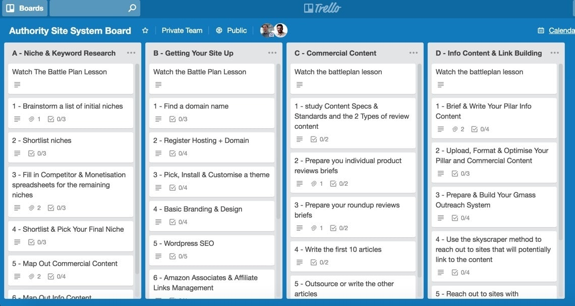 trello boards for authority hacker
