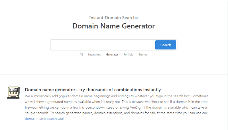 image of instantdomainsearch generator