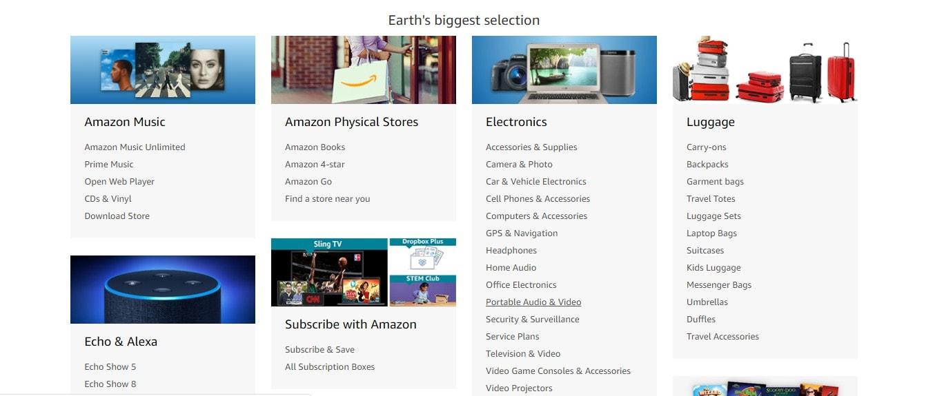 screenshot of amazons categories