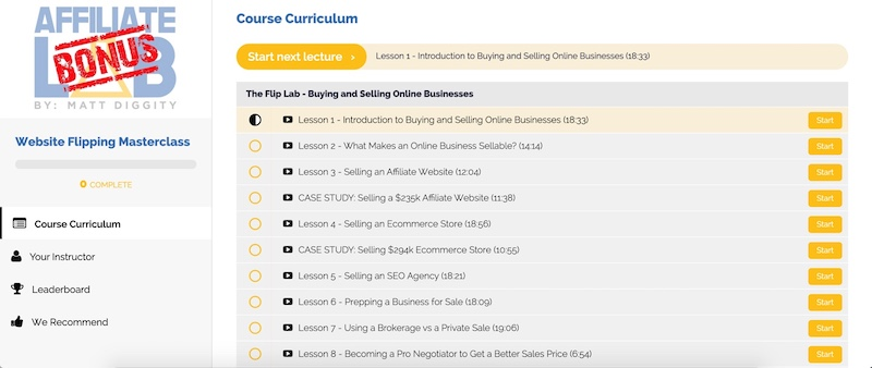 website flipping course module