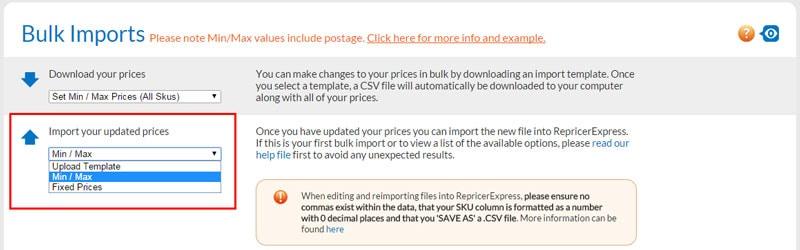 RepricerExpress bulk imports